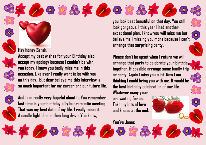 Birthday Paragraph For Her Sample Birthday Letters For Girlfriend Love You Messages