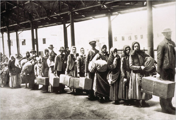Passages Immigrants at Ellis Island awaiting a ferry to the city