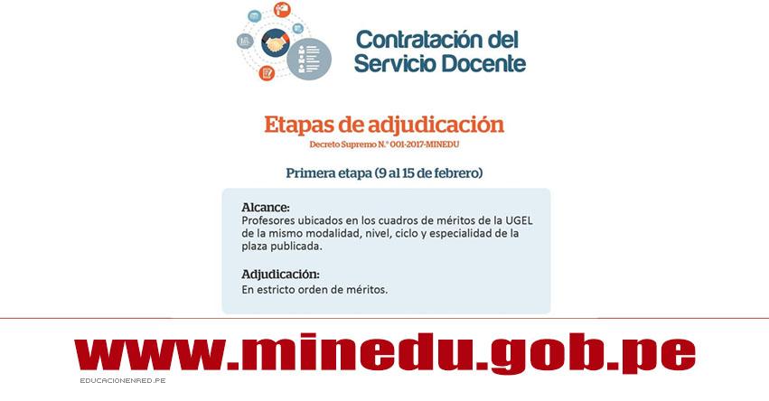 MINEDU: Primera Etapa de Adjudicación Contrato Docente Año Escolar 2017 (Del 9 al 15 Febrero) www.minedu.gob.pe