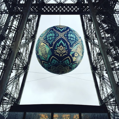 "Obey Giant ""Earth Crisis"" at the Eiffel Tower by Shepard Fairey"