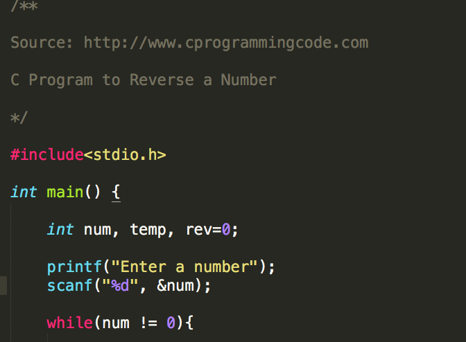 program in c to reverse a number