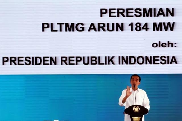 Presiden Jokowi Resmikan PLTMG Arun 184MW