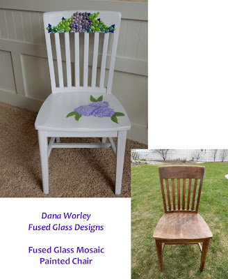Fused glass mosaic chair - Before and After!
