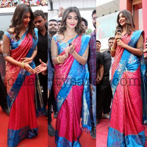 Pooja Hegde Kanchi Pattu Saree
