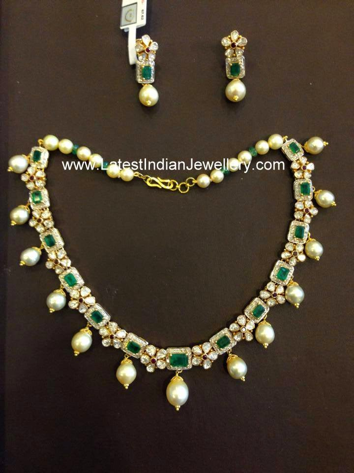 polki diamond emerald simple necklace