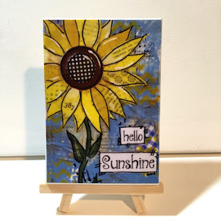 flower mixed media, hello sunshine