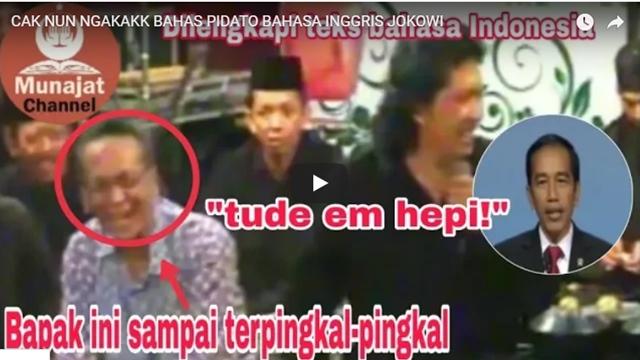 Kocak! Cak Nun Tiru Bahasa Inggris Ala Jokowi: Haduh, Dobol!