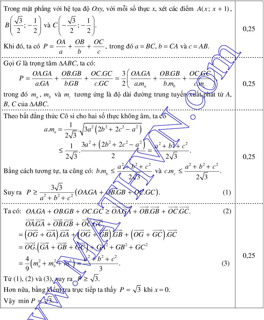 đáp án câu 10 trong đề minh họa môn toán