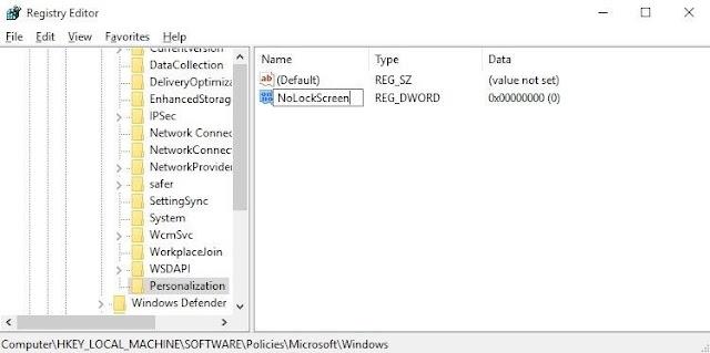 Menggunakan Registry Editor untuk Menonaktifkan Layar Kunci - 6