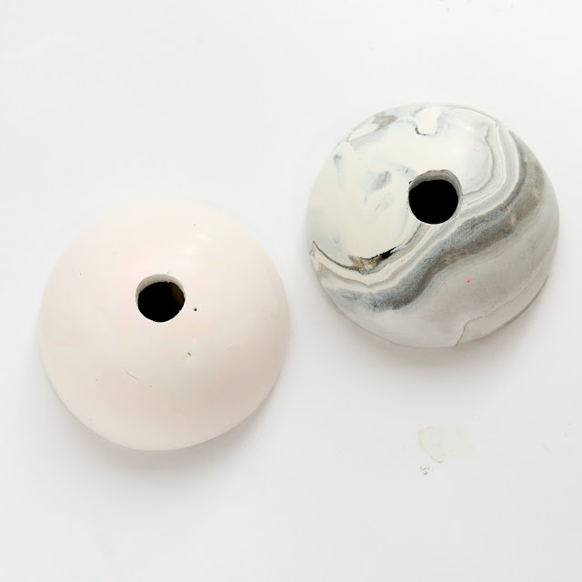 DIY Clay Orb Color Blocked Bud Vase