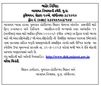 Gujarat Horticulture Mission Recruitment for Field