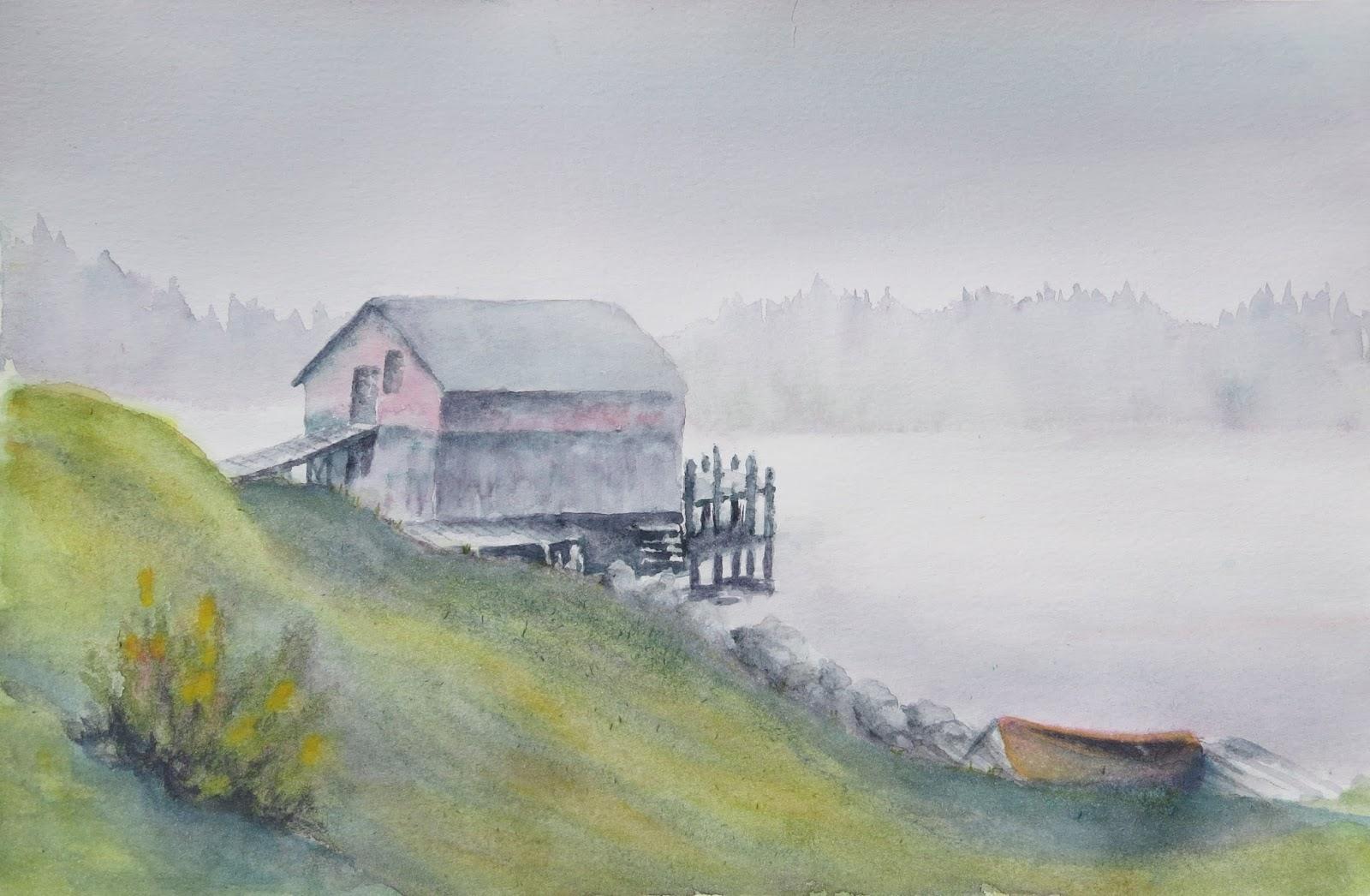 Mes aquarelles - La cabane au bord du lac ...