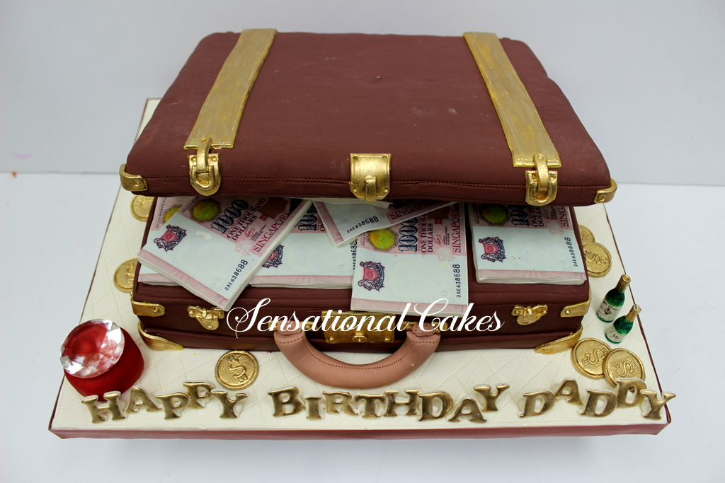 The Sensational Cakes Briefcase With Loads Of Cash And Money 3d