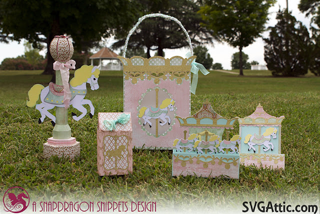 Carousel horse gift bag, treat bag, centerpiece, box card