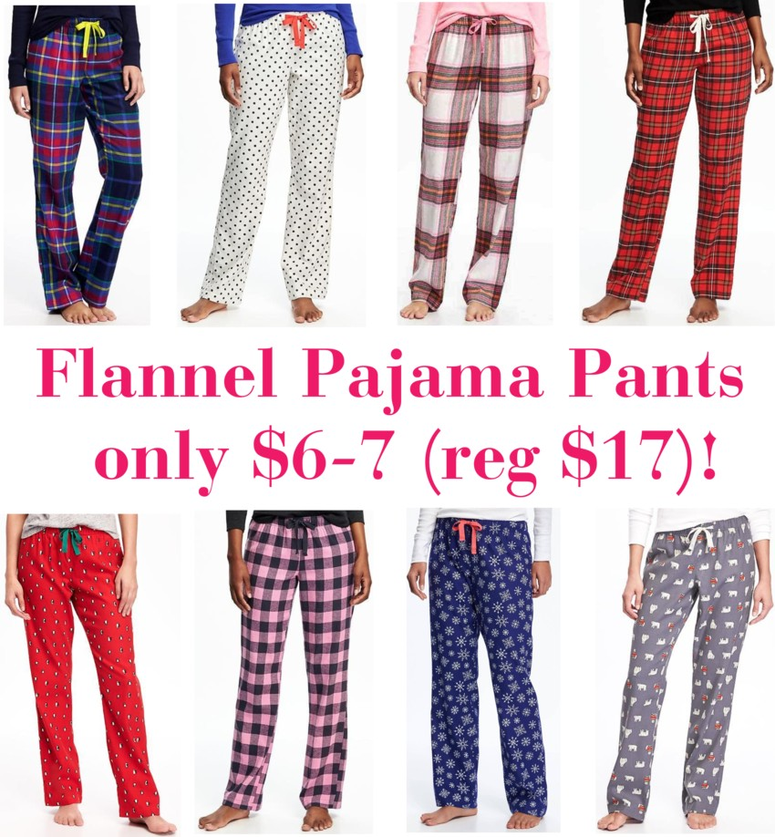 Flannel Drawstring Sleep Pants for only $6-7 (reg $17)