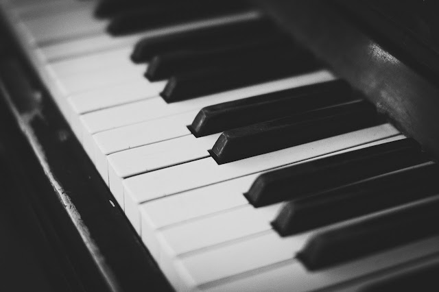 Keys of a piano, black and white, music
