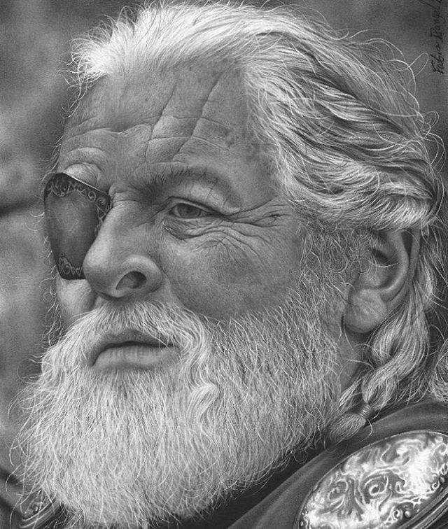 09-Thor-Odin Anthony Hopkins-Fabio-Rangel-Drawings-of-Protagonists-from-TV-and-Movies-www-designstack-co