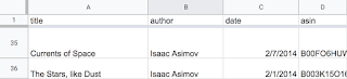 Screenshot of spreadsheet with reading list