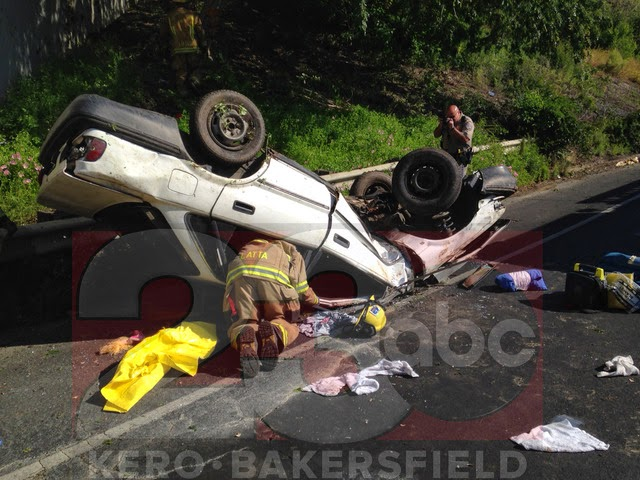 Bakersfield highway 178 rollover crash collision white car Kern county