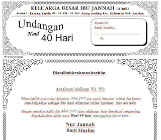 Download Contoh Undangan Tahlil Haul 40 Hari Ms. Word ...
