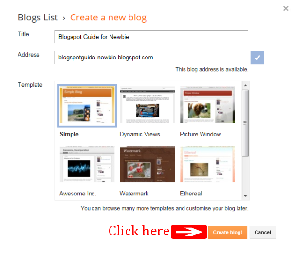 How to Create A Blog On Blogspot : Click Create Blog