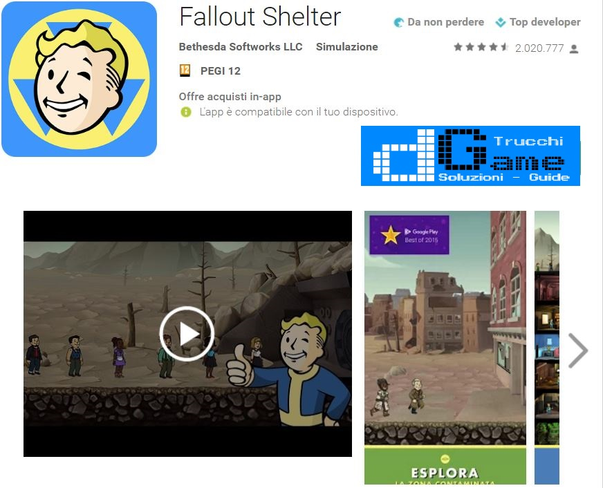 Trucchi Fallout Shelter Mod Apk Android v1.11