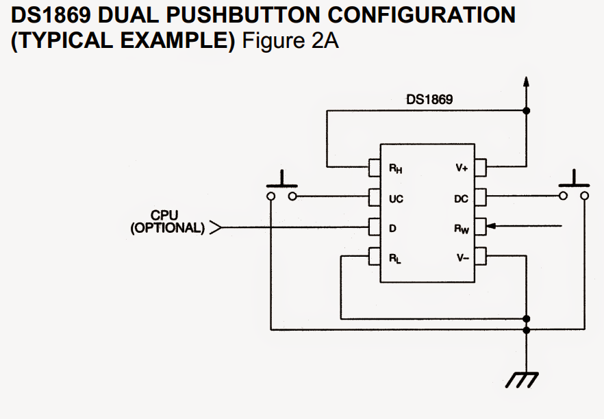 digital potentiometer circuit using ic ds1869 electronic circuit