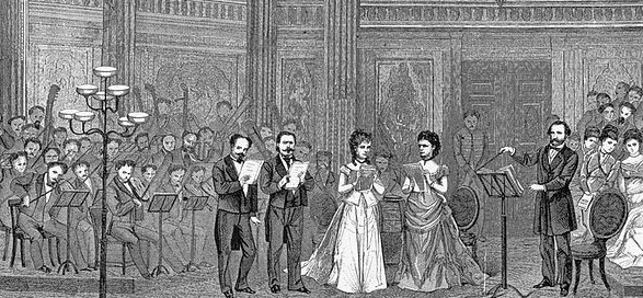 IN PERFORMANCE: Giuseppe Verdi (far right) conducts the 'Ingemisco' in his MESSA DA REQUIEM at Teatro alla Scala in 1874 [Uncredited engraving; public domain]