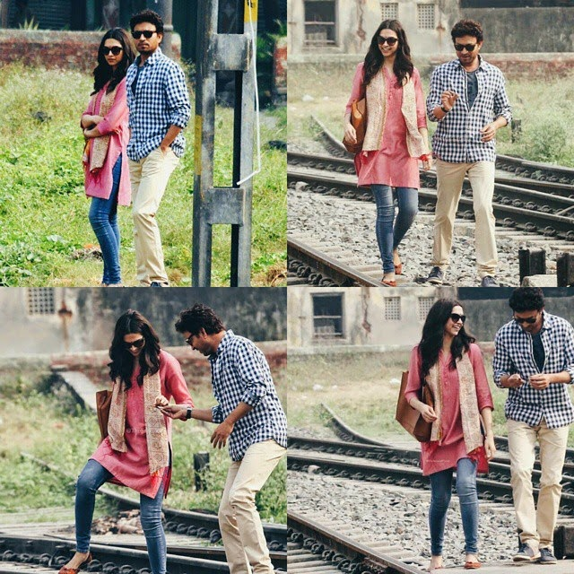 { deepika padukone , and irfan khan , on the kolkata tracks }