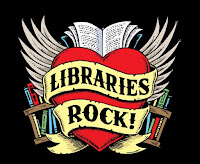 Libraries Rock! logo of heart with wings