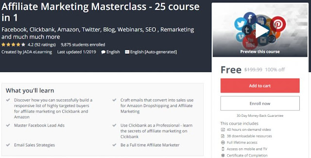 [100% Off] Affiliate Marketing Masterclass - 25 course in 1| Worth 199,99$