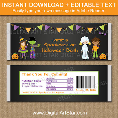 kids halloween chalkboard party favors