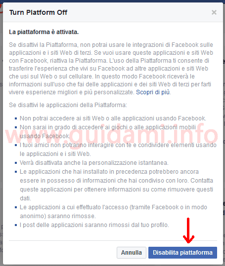 Popup Facebook Turn Platform Off
