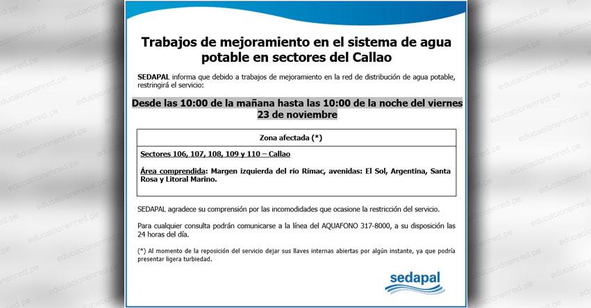 SEDAPAL: Corte de Agua Potable en el Callao (Viernes 23 Noviembre) www.sedapal.com.pe