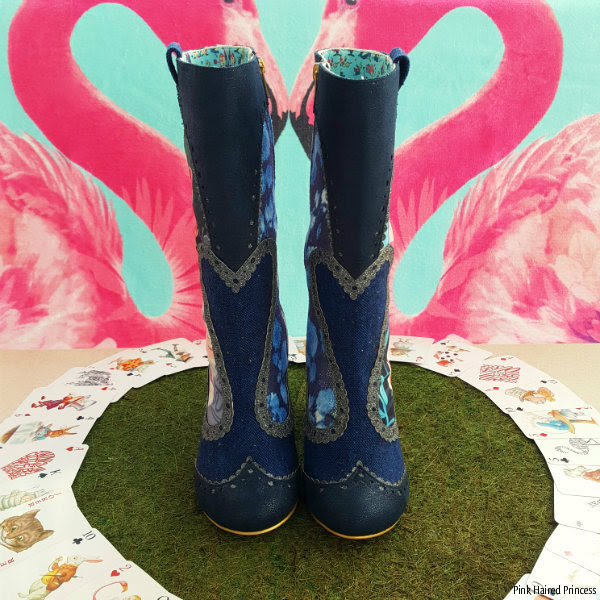 front view of Irregular Choice Alice Lost Your Muchness boots standing