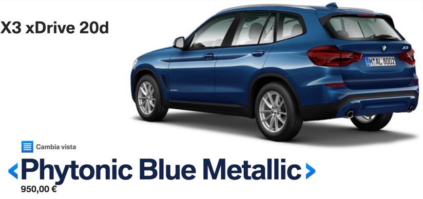colori nuova bmw x3 2017 2018 Phytonic Blue Metallic
