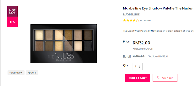 Maybelline Eye Shadow Palette Nudes di Hermo