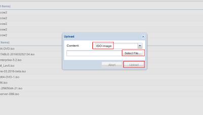 Selanjutnya pilih tipe berkas, misal berkasnya .iso maka silahkan pilih ISO image kemudian Select file untuk mencari file iso lalu upload, tunggu sampai proses upload selesai