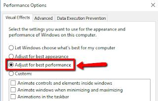 langkah Agar kinerja Windows 10 meningkat nonaktifkan Visual effect