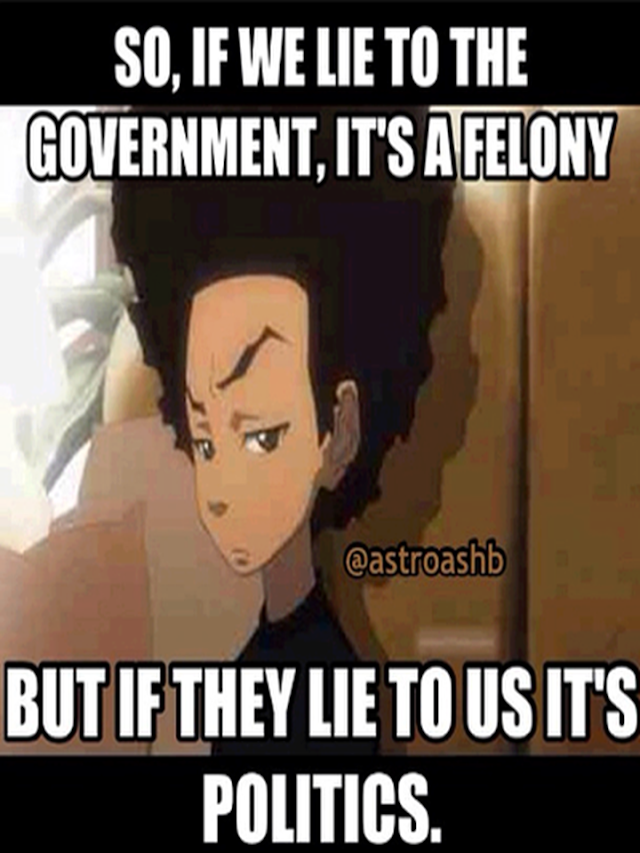 """""""So, If We Lie To The Government, It's A Felony But If They Lie To Us It's Politics?"""""""