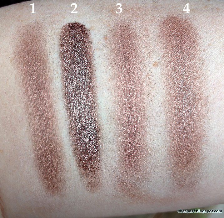 Swatches of (1) Laura Mercier Bamboo, (2) Maybelline Color Tattoo in Bad to the Bronze, (3) BareMinerals A-ha, and (4) Wet N Wild Nutty.