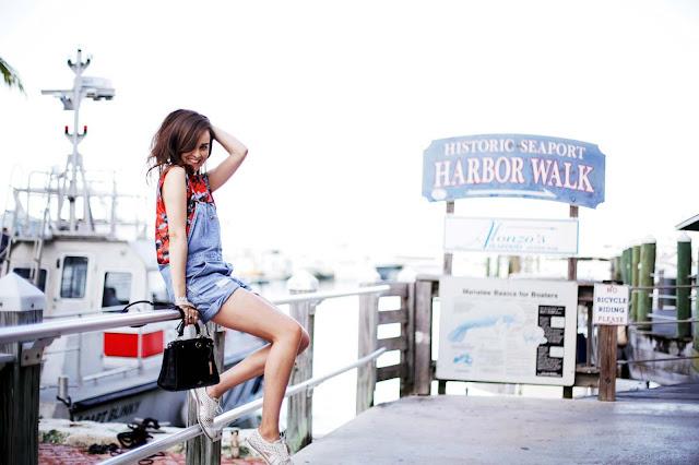 Kieko Lynn wearing overalls in Fruit Stripe - imyne fashion how to wear overalls