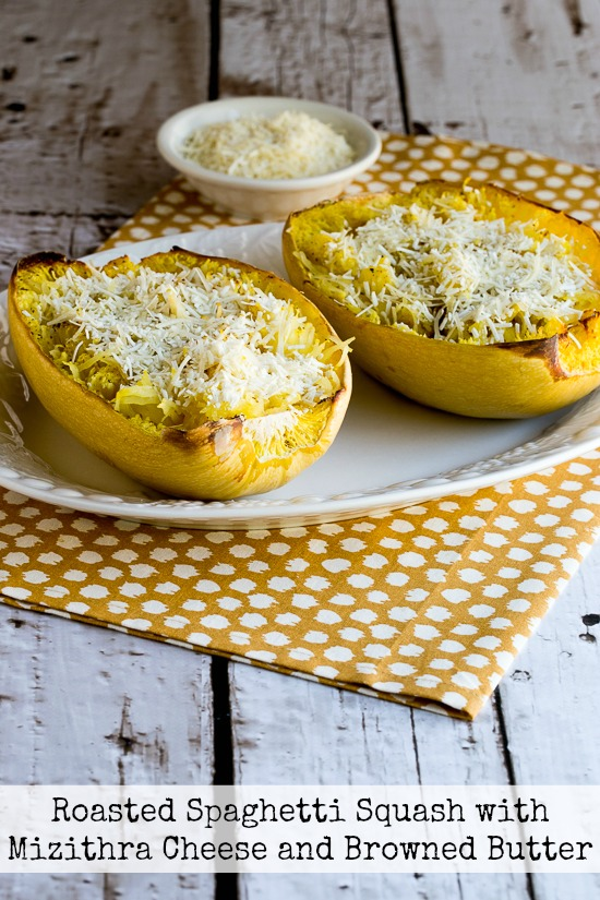 Roasted Spaghetti Squash with Mizithra Cheese and Browned Butter / Cheesy Low-Carb Spaghetti Squash Recipes for Low-Carb Recipe Love on Fridays at KalynsKitchen.com