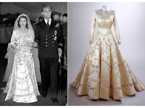 Com seu noivo vestida de noiva e ao lado foto do vestido simples, clássico com vários bordados