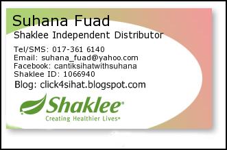 Saya Pengedar Sah Shaklee untuk kawasan Puchong serta seluruh Malaysia