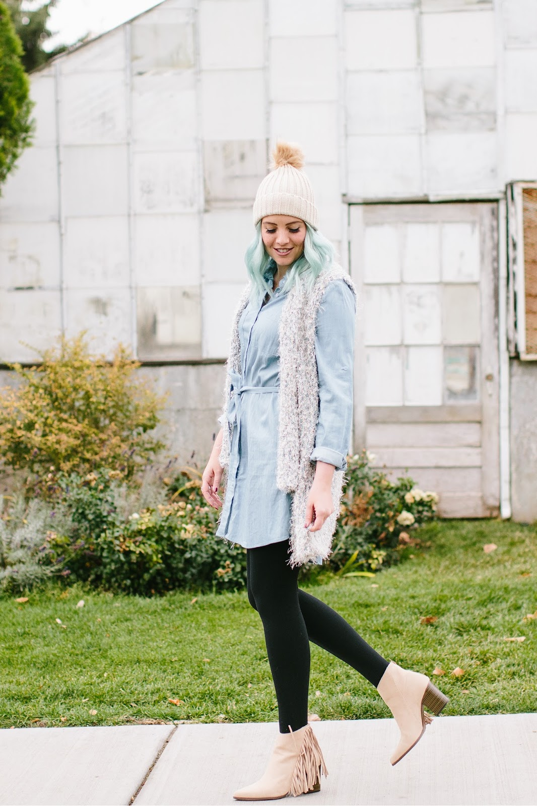 Denim Dress, Utah Fashion Blogger, Fringe Booties