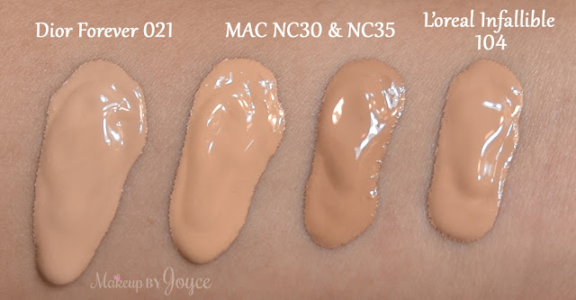 Mac Pro LongWear Nourishing Waterproof Foundation NC30 NC35 L'oreal Infallible Pro Matte 104 Swatch
