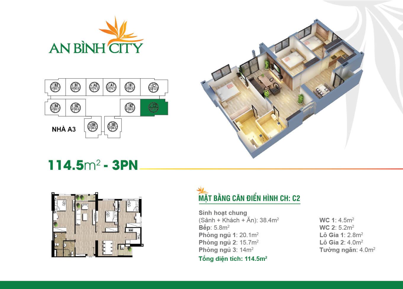 Thiết kế mặt bằng căn hộ 114,5 m2 - An Bình City