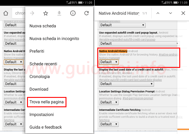 Chrome funzione sperimentale gesto avanti indietro pagina internet