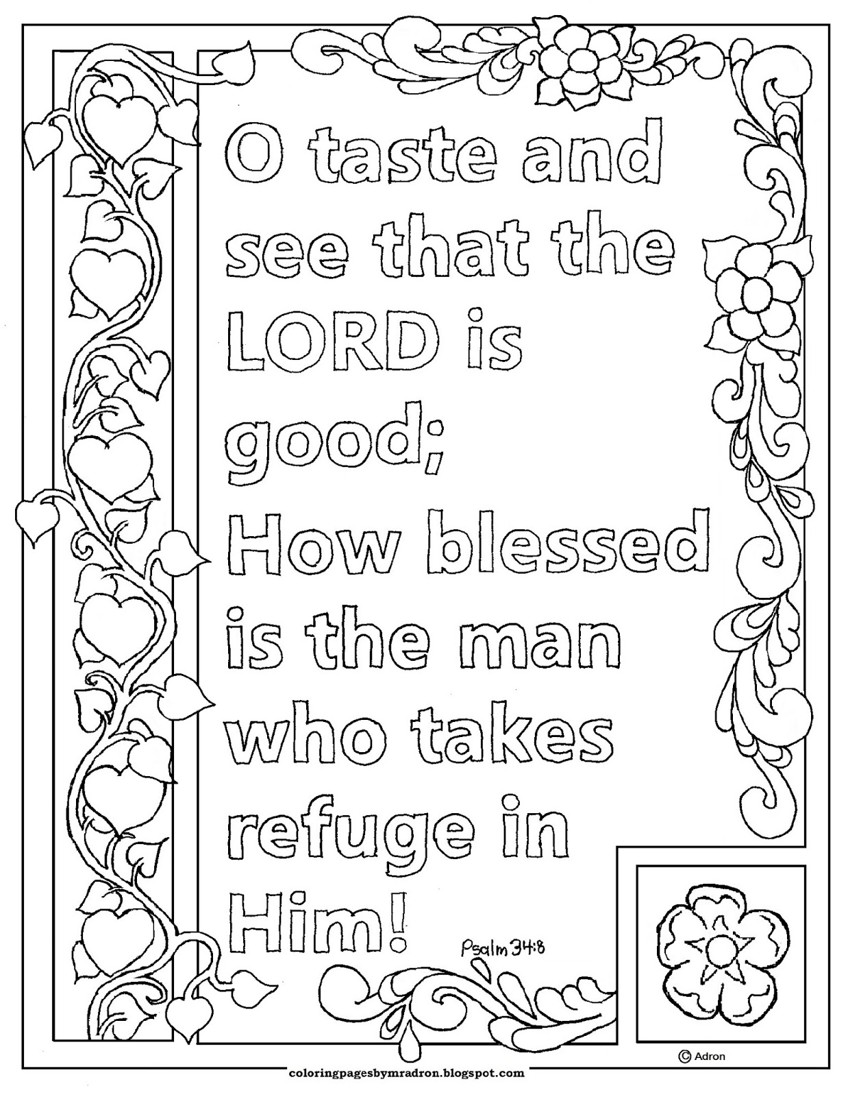 psalm 348 print and color page o taste and see that the lord is good - Psalm 8 Coloring Page